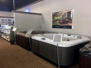 Spa Warehouse Jacuzzi spas and hot tubs in Hagerstown, MD showroom on Pennsylvania Ave.